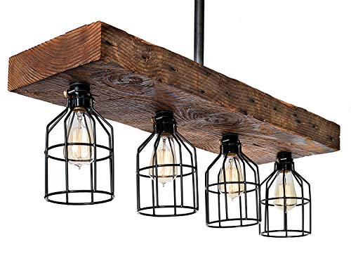 Farmhouse Lighting Reclaimed Wood from Early-1900s Rustic Lighting for Kitchen Island Lighting, Dining Room, Bar, Industrial, and Billiard Table-Wooden Light with Edison Cages