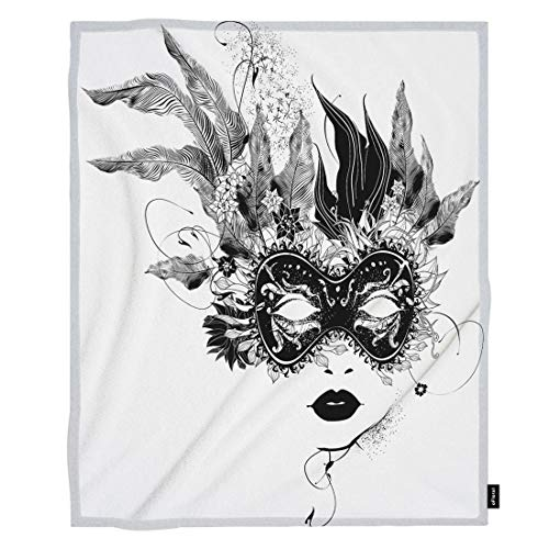 oFloral Female Throw Blanket Black Lip Flower Mask Feather Leaves Woman Decorative Soft Warm Cozy Blankets for Baby Toddler Dog Cat Home Decor for Bed Chain Sofa Couch 30x40 Inch ()