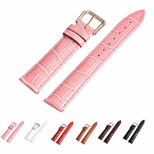 Leather Watch Band with Rose Gold Watch Buckle - Choices of Color & Width (18mm,20mm or 22mm) Genuine Cowhide Interchangeable Strap(18mm,Pink)