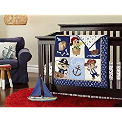 New 7pcs Baby Boy Teddy Bear Caribbean Pirates Crib Bedding Set