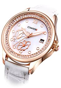 Comtex Lady Analog Quartz Wrist Watch Rose Gold Case White Leather Band