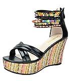 DREAM PAIRS Bling Women's Wedge Sandals Pearls Across The Top Platform High Heels Black Size 9.5