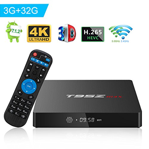 T95Z MAX Android 7.1 TV Box Amlogic S912 Octa-Core 3GB DDR3/32GB eMMC 2.4Ghz 5Ghz WiFi 1000M LAN Ethernet 64-Bit H.265 Bluetooth 4.0 DLNA UHD 4K Mini PC TV Box by T95Z MAX
