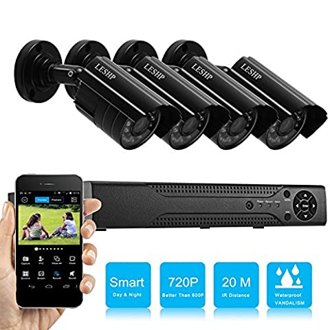 LESHP AHD 720p Video Security Camera System High Definition Smart Outdoor Indoor Home Motion Detection DVR with Night Vision Easy Remote Access Without Hard Disk - Wireless Outdoor Infrared Camera