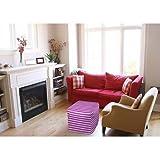 Thumbprintz Bright Stripes Pink Pouf, 18'' x 18'' x 18''