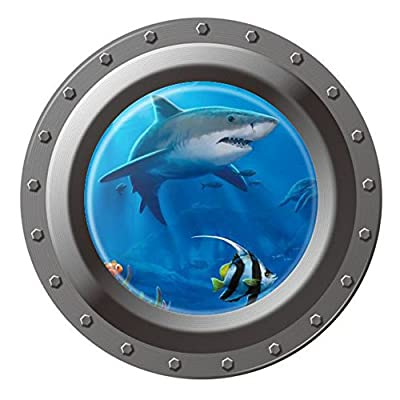 "DNVEN (17"" w X 17"" h Porthole Peel and Stick Window View Shark 3D Window View Wall Arts Decals Decors Removable Stickers Shark"