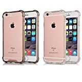iPhone 6S Case [2 Pack]CaseHQ iPhone 6S Cover Heavy Duty Protection Shock-Absorption Flexible Soft Rubber TPU Bumper Air Cushion Excellent Grip Drop Protection for iPhone 6S / iPhone 6 (Clear+Black)