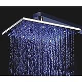 10 Inch Square Chrome 3 Colors LED Temperature Sensitive Rainfall Shower Head