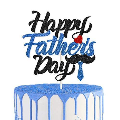 Happy Fathers Day Cake Topper Best Dad Ever Party Decorations Fathers Birthday Party Supplies Father's Day Festival Party Centerpiece Mustache Tie Heart Decor]()