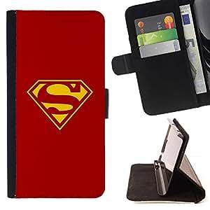 Momo Phone Case / Flip Funda de Cuero Case Cover - ROJO Y AMARILLO S SUPER HÉROE - LG Nexus 5 D820 D821