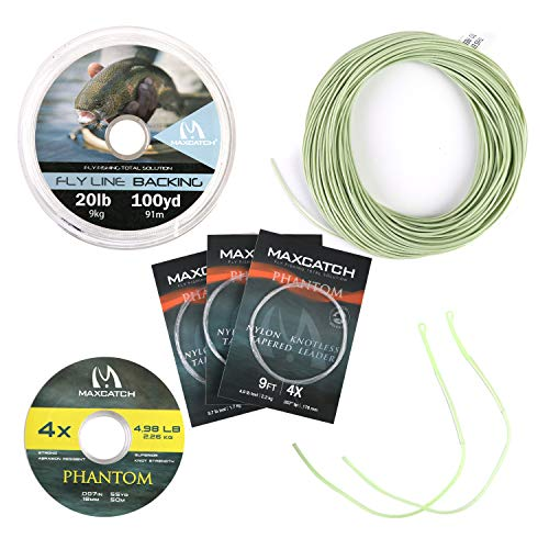 M MAXIMUMCATCH Maxcatch Best Price Trout Fly Fishing Line; Weight Forward, Floating Fly Line (1F/2F/3F/4F/5F/6F/7F/8F/9F/10F) (Moss Green Line Combo, WF5F)