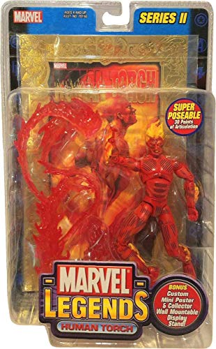 Human Torch Toy Biz Marvel Legends Series 3 Action Figure with Gold Foil Poster