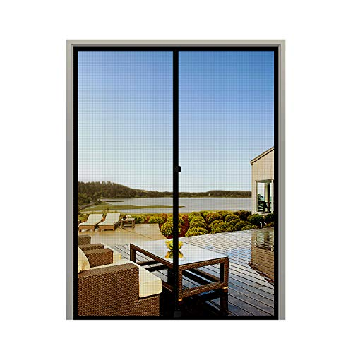 MAGZO Screen Door Magnets 48 x 83, Durable Fiberglass Door Mesh with Full Frame Hook&Loop for Double Door Fits Door Size up to 48