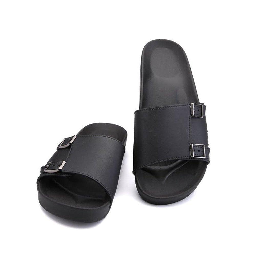 Sandalias de la Diapositiva de la Moda de la Correa Ancha del Deslizador de los Hombres con la Mini Plataforma de Las Hebillas metálicas Dobles 39 EU|Negro