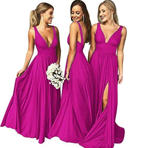 Bridesmaid Dress Long V Neck Backless Split Prom Dress Evening Gowns for Women 2019 Fuchsia Size22