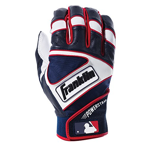 Franklin Sports MLB Powerstrap Batting Gloves, Pearl/Navy/Red Adult Medium