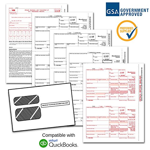 1099 Misc Laser Forms  1099   4 Part  Kit With Self Seal Envelopes For 25 Individuals  2017    3 Free Form 1096 Transmittal Forms   Irs Aprroved