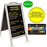 2 Pack of Oversized Stain-Resistant Stand Up Chalkboard Sign + 12 FREE Liquid Chalk Pens - Rustic Magnetic Large A-Frame - Wind-Proof for Weddings, Restaurants and More