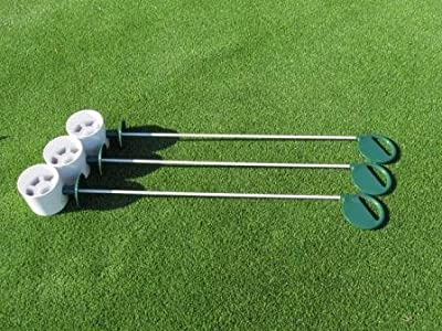 """Golf Practice Putting Green - Natural or Synthetic - Deluxe Accessory Kit - (3) Bright White Plastic 4"""" Deep Regulation Cups + (3) Green Executive Putting Green Pin Markers with Ball Lifter Disks"""