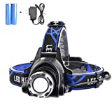 VELRAPCOR Bright LED Headlamp Headlight 3 Modes 2000 Lumens CREE XM-L T6 Waterproof Zoomable Rechargeable 18650 Batteries AC Charger for Outdoor Sport