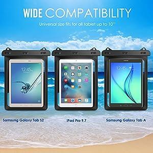 Universal Waterproof Case, MoKo Dry Bag Pouch for New iPad 9.7 2017, iPad Pro 9.7, iPad Air 2, iPad 4/3/2, Samasung Tab S3/Tab S2/Tab A 9.7, Galaxy Note 8, Tab E 9.6 and More Up to 10 Inch, BLACK