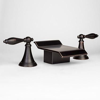 Roman Bath Tub Widespread Contemporary Waterfall Bathroom Faucet, Oil  Rubbed Bronze