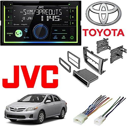 JVC KW-R930BTS 2-Din in-Dash Car Stereo CD Player w/Bluetooth/USB/iPhone/Sirius Car Radio Stereo Single 2Din Grey Dash Kit Harness for 2009-2013 Toyota Corolla ()