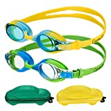 Kids Swim Goggles(2-pack) Swimming Goggles for Kid Boys Girls (Age 3-8) Child Colorful Swim Goggles...
