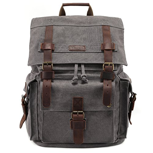 Kattee Men's Leather Canvas Backpack Large School Bag