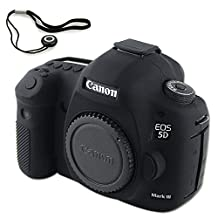 First2savv XJPT-5D3GJ-01G14 black Rubber Camera Case Bag full cover for Canon EOS 5D Mark III . 5D Mk3 . 5DS . 5DSR .5DR + anti-lost rope