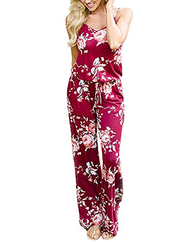 Adibosy Women Summer Floral Print Halter Sleeveless Jumpsuit Bohemian Wide Long Pants Rompers with Pockets Burgundy S