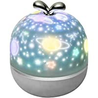 360 Degree Rotation Starry Sky Night Light Projector, Kids Bedroom Decor Stars Moon Projector Lamp Bedside Light with 6…