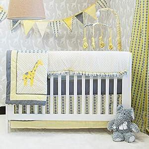 Pam Grace Giraffe Animals and Safari Time. Grey and Yellow 10 Piece Crib Bedding Set for Boys and Girls.