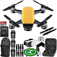 DJI Spark Portable Mini Drone Quadcopter (Sunrise Yellow) EVERYTHING YOU NEED Ultimate Bundle