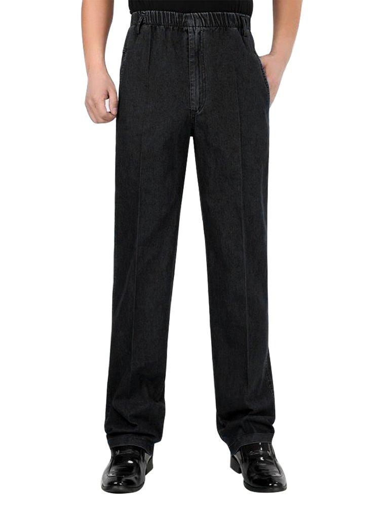 IDEALSANXUN Men's Elastic Waist Thin Linen Solid Casual Pants (#2 Black, 38)