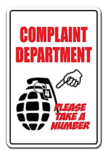 Complaint Department Wall (Complaint Department Take A Number Novelty Sign - Sticker Graphic - Auto, Wall, Laptop, Cell Sticker)
