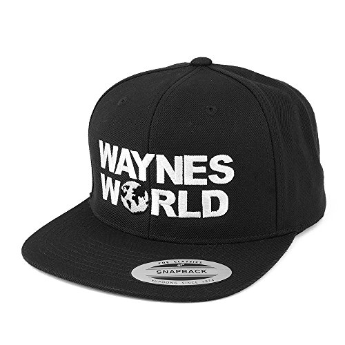 Flexfit Wayne's World Embroidered Flat Bill Snapback Cap - Black