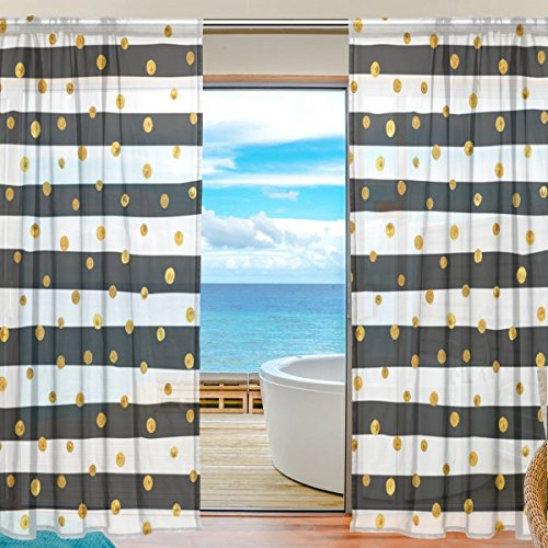 2-Piece: JSTEL Gold Dots White And Black Stripes Pattern Print Tulle Polyester Door Voile Window Curtain Sheer Curtain Panels For Bedroom Decor Living Room Drape Two Panels Set 55x84 - Dot Print Sheer