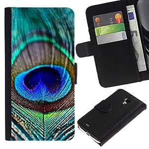 Planetar® Modelo colorido cuero carpeta tirón caso cubierta piel Holster Funda protección Para Samsung Galaxy S4 Mini i9190 / i9195 (Not For S4) ( Vibrant Teal Blue Nature Bird )