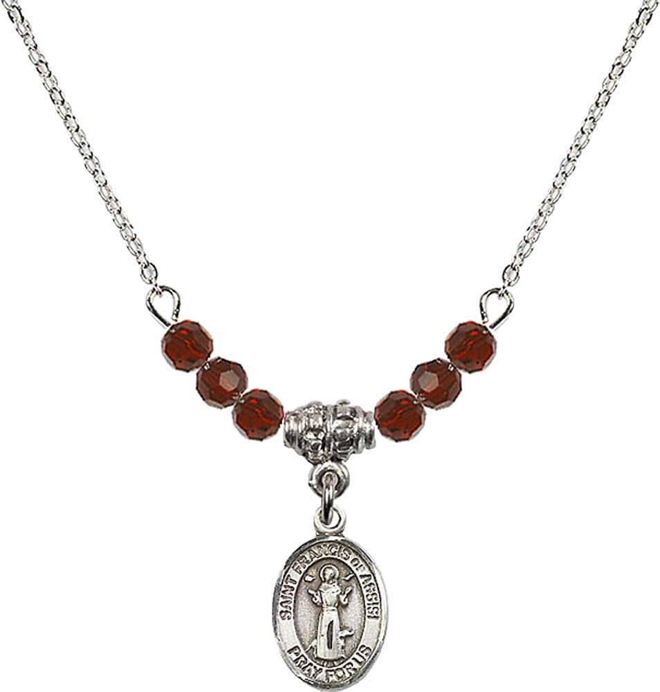Bonyak Jewelry 18 Inch Rhodium Plated Necklace w// 4mm Red January Birth Month Stone Beads and Saint Francis of Assisi
