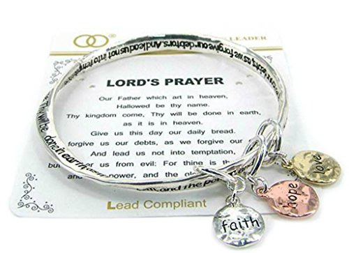 Silvertone Lord's Prayer Bangle Bracelet with Tri-tone Faith, Hope, Love Dangle Charms (Prayer Bread Bracelet compare prices)