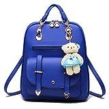 Womens Backpack PU Leather Multi-Way Girls School Backpack Cartoon Pendant,Sky Blue