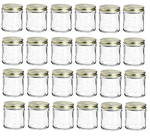 Nakpunar 24 pcs 6 oz Straight Sided Glass Jars with Lids (Gold, 24) ()