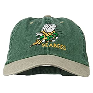 Navy Seabees Symbol Embroidered Dyed Two Tone Cap - Spruce Khaki