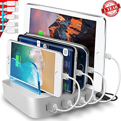 USB Charging Station - Charging Dock - 4-Port - Fast Charging Station - iPad Docking Station - Phone IOS Android Charging Station Dock - Multi Charging Station for Cell Phones and Tablets (Charging Port Station 4)