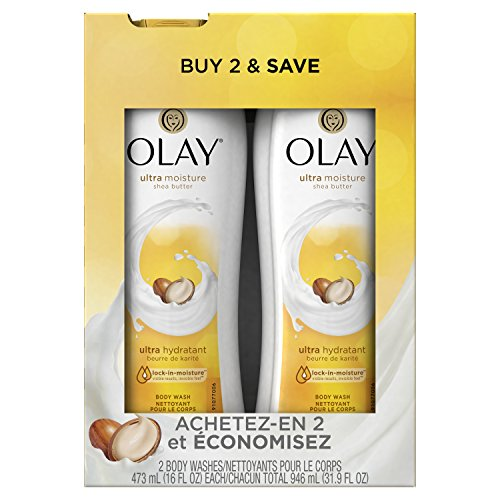 Olay Ultra Moisture Body Wash with Shea Butter for Extra-Dry, Dry, Dull or Rough Skin - 16 Fl Oz, Pack of 2 (Olay Rose And Almond)