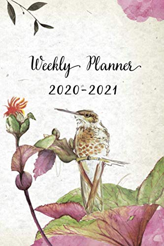 Weekly Planner 2020-2021: Pretty Floral and Hummingbird Design Weekly and Monthly Planner | Perfect Gift for Girl Women Friends and Colleagues