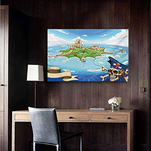 (duommhome Island Map Simulation Oil Painting Aerial View Fantasy Pirate Cove Island with Crossbones and Captain Skull Figure Decorative Painted Sofa Background Wall 35