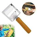 Ewolee Honey Uncapping Fork, Food Degree Stainless Steel Bee Hive Honey Fork Scraper Shovel, Honeycomb Knife Beekeeping Tool with Wooden Handle