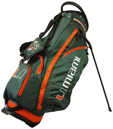 Team Golf NCAA Miami Hurricanes Fairway Golf Stand Bag, Lightweight, 14-way Top, Spring Action Stand, Insulated Cooler Pocket, Padded Strap, Umbrella Holder & Removable Rain Hood